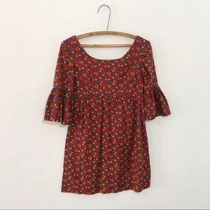 Vintage 60s 70s Hippie Bell Sleeve Dress